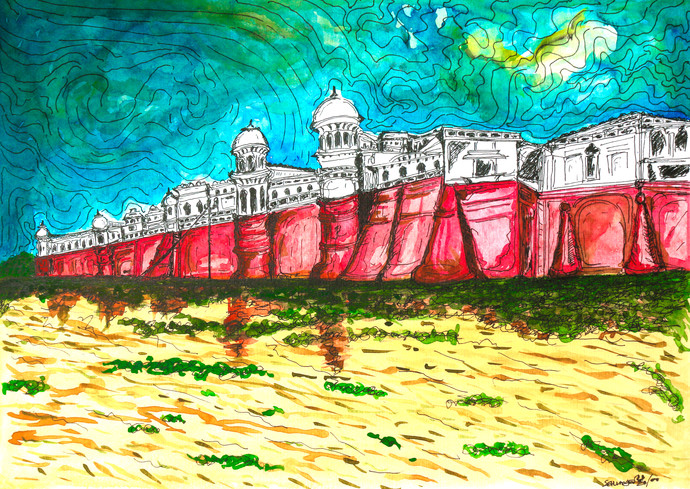 Haunted Palace Under a Cloudy Sky by Saumya Chakraborty, Impressionism Painting, Watercolor & Ink on Paper,