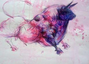 Bull Beautiful 300 by Saumya Bandyopadhyay, Impressionism Painting, Mixed Media on Paper, Maverick color