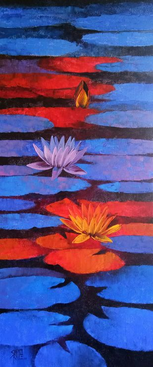 Waterlilies by Swati Kale, Expressionism Painting, Oil on Canvas, Valencia color