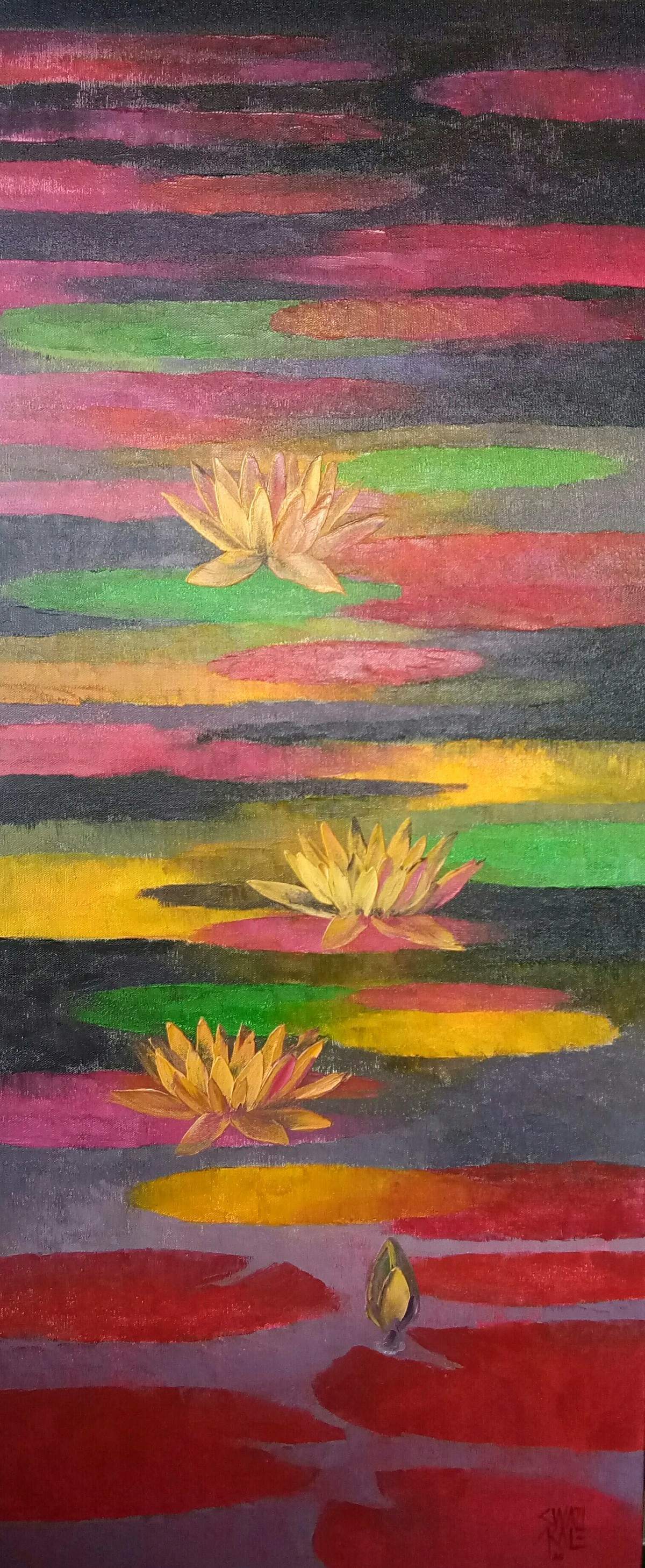 Waterlilies by Swati Kale, Expressionism Painting, Oil on Canvas, Orchid Pearl color