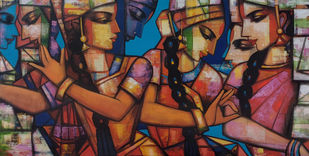 rhythimscape series by Anindya Mukherjee, Expressionism Painting, Acrylic on Canvas, Spice color