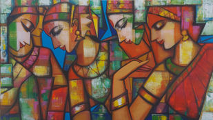 rhythimscape series by Anindya Mukherjee, Expressionism Painting, Acrylic on Canvas, Ironstone color