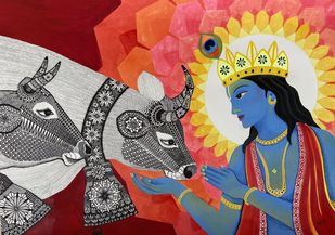 Krishna Divine Love by Pallavi Rastogi , Traditional Painting, Mixed Media on Paper, Pickled Bluewood color