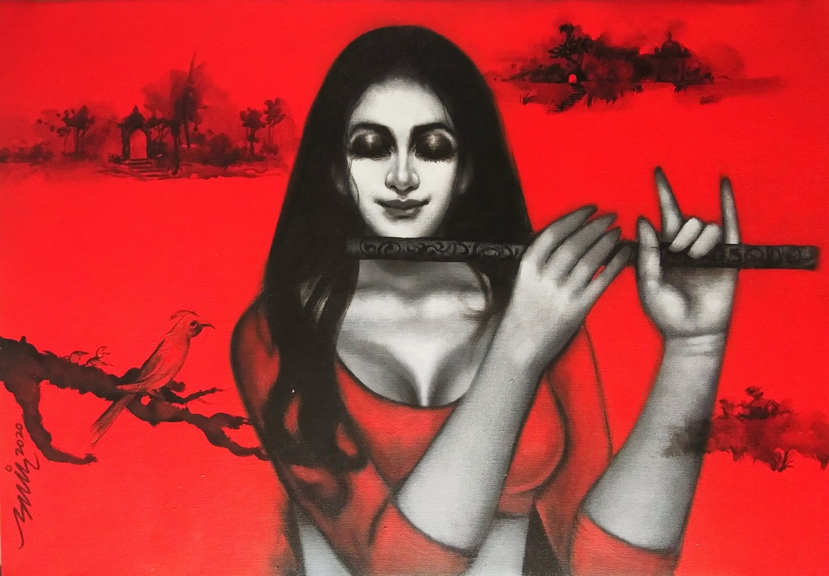 dhun by Anand Dharmadhikari, Expressionism Painting, Acrylic on Canvas, Pomegranate color