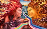 The Rainbow Road by Ankur Rana, Fantasy Painting, Oil on Canvas, Burnt Umber color