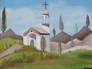 A day at the monastery in Poland by Harleen Kaur Johal, Impressionism Painting, Acrylic on Board, Gull Gray color