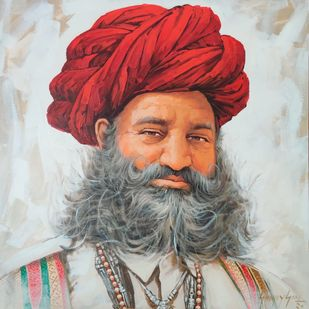 Turban Man by Sanjay Soni, Realism Painting, Acrylic on Canvas, Celeste color
