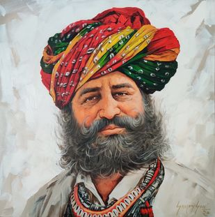 Turban Man by Sanjay Soni, Realism Painting, Acrylic on Canvas, Armadillo color