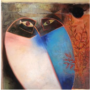Untitled by Umesh Bhoi, Expressionism Painting, Oil on Canvas, Oxford Blue color