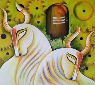 RISHABHNATH (p-2) by SUSMITA MANDAL, Expressionism Painting, Acrylic on Canvas, Reef Gold color