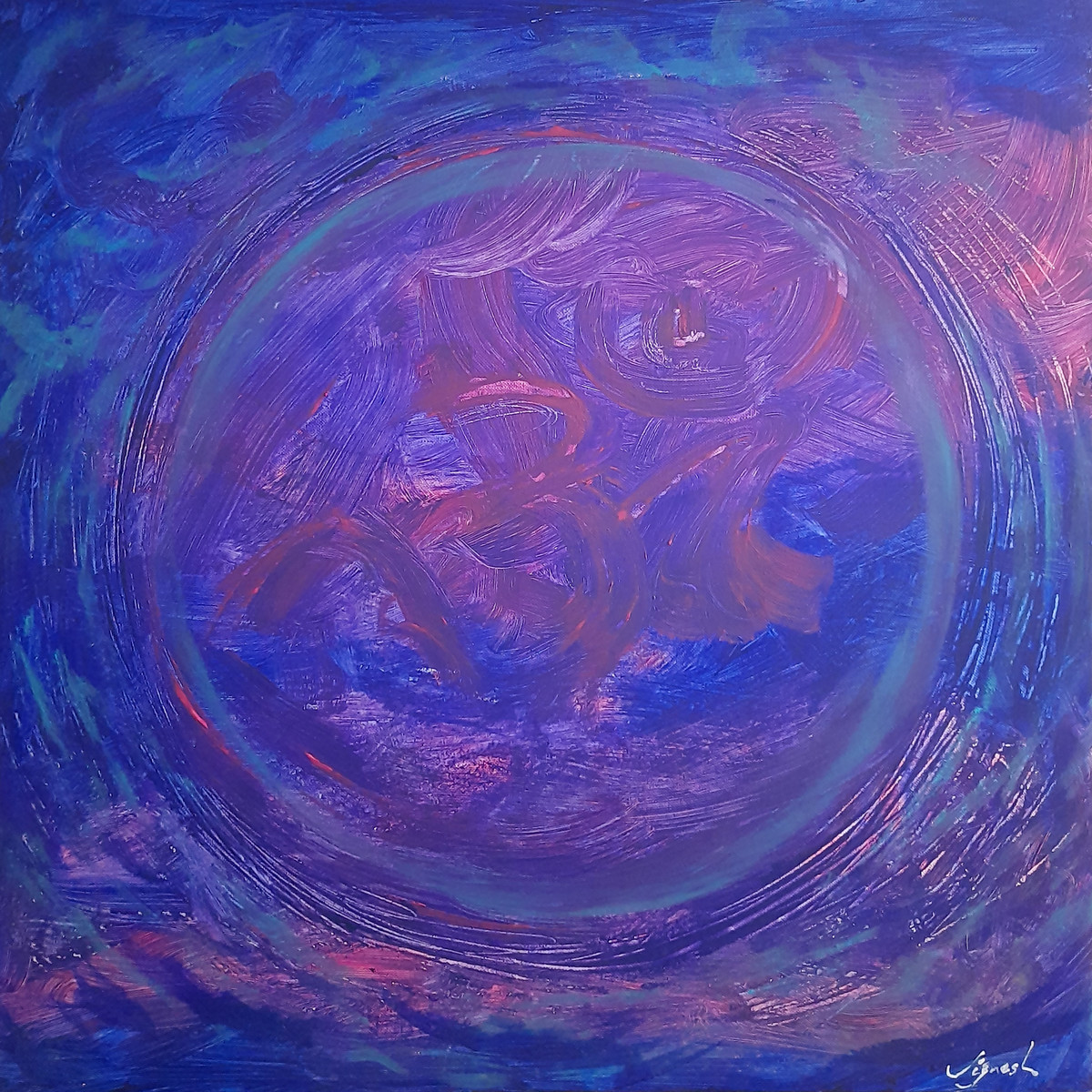 Aumkaar by Jignesh Jariwala, Abstract Painting, Acrylic on Canvas, Victoria color
