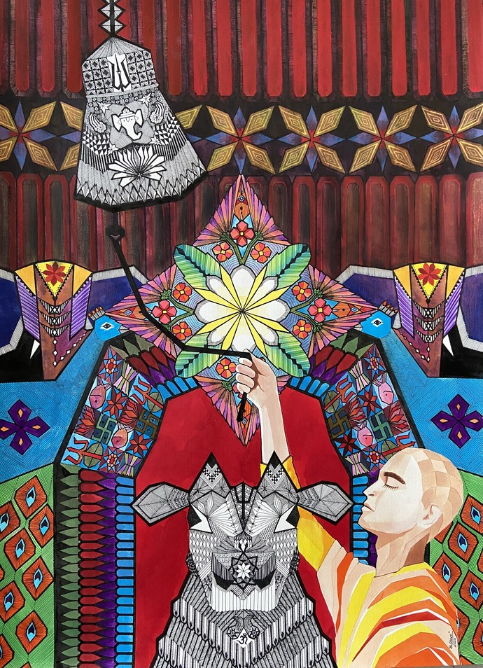 Enlightenment by Pallavi Rastogi , Fantasy Painting, Acrylic & Ink on Paper, Brandy color