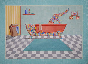 The Bathroom by Shrea Ghosh, Expressionism Painting, Acrylic on Paper, Granny Smith color
