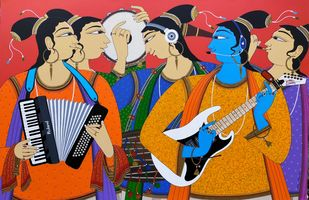 Musicians -II by Shahed Pasha, Expressionism Painting, Acrylic on Paper, Pickled Bluewood color
