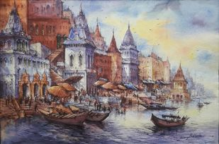The beauty of varanasi-2 by Shubhashis Mandal, Impressionism Painting, Watercolor on Paper, Mountain Mist color