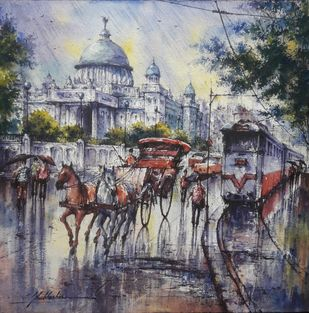 Victoria memorial in kolkata-2 by Shubhashis Mandal, Impressionism Painting, Watercolor on Paper, Fedora color