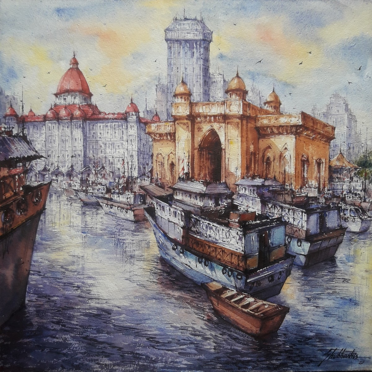 The gateway of Mumbai -1 by Shubhashis Mandal, Impressionism Painting, Watercolor on Paper, Cloudy color