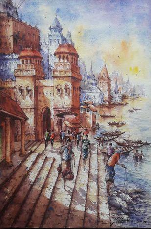 Benaras ghat-3 by Shubhashis Mandal, Impressionism Painting, Watercolor on Paper, Nobel color