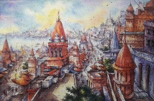 Top view of Benaras-2 by Shubhashis Mandal, Impressionism Painting, Watercolor on Paper, Cotton Seed color