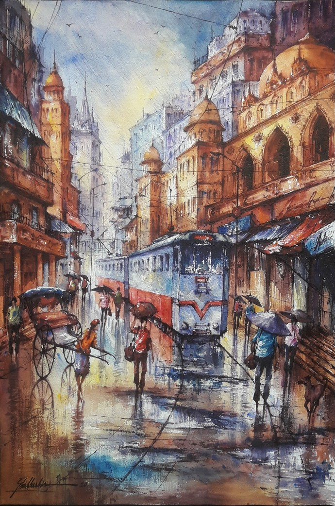 Tram in Kolkata -4 by Shubhashis Mandal, Impressionism Painting, Watercolor on Paper, Russett color
