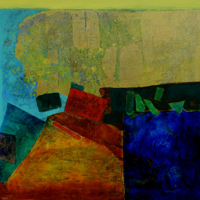 Untitled by Deepali S, Abstract Painting, Acrylic on Canvas, Gondola color