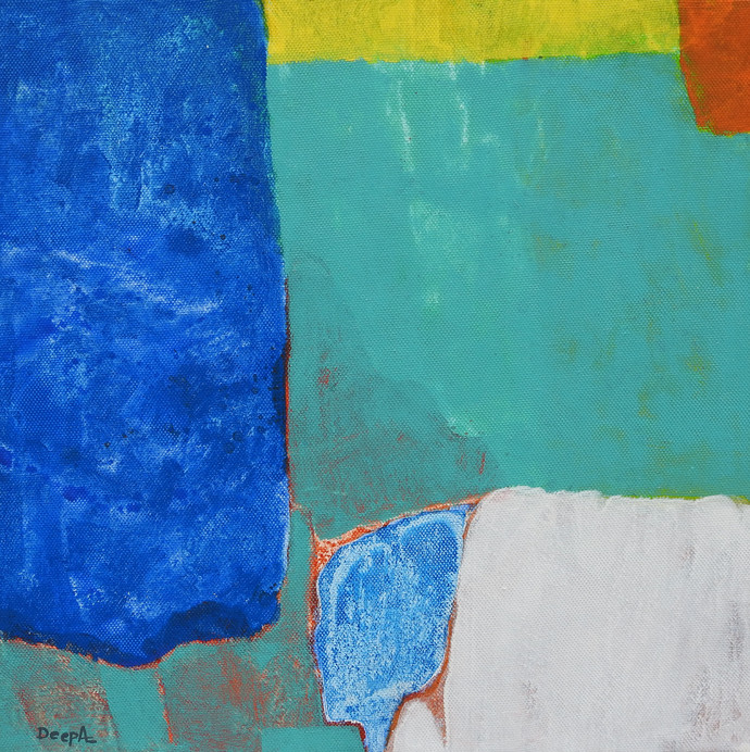 Untitled by Deepali S, Abstract Painting, Acrylic on Canvas, Boston Blue color