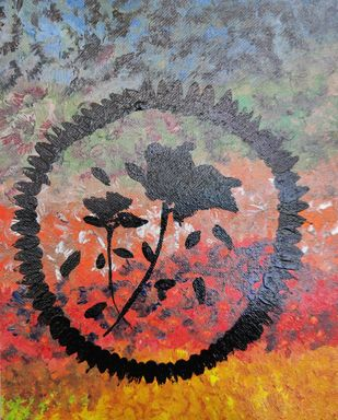 Black Flower by Dishita Bansal, Expressionism Painting, Acrylic on Canvas, Hurricane color