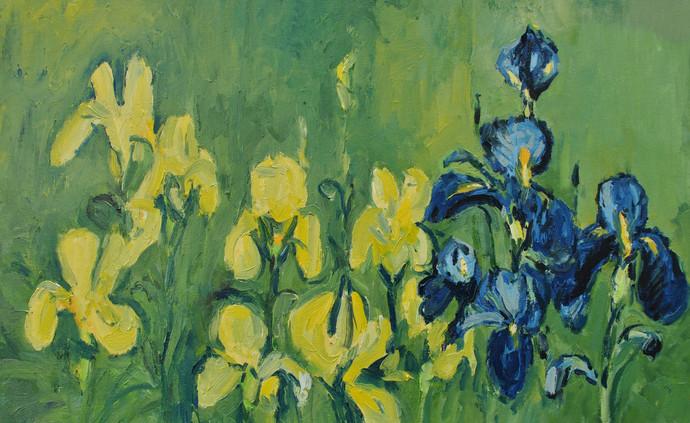 Irises in My Garden-3 Digital Print by Animesh Roy,Expressionism