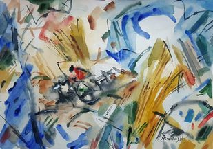 harvest by Judhajit Sengupta, Expressionism Painting, Watercolour and Pen and Ink on Paper, Eagle color