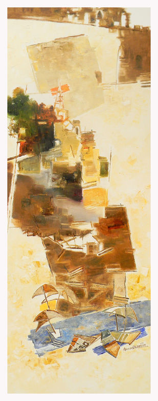 Banaras 26-2016 by Anand Narain, Abstract Painting, Oil on Canvas, Raffia color