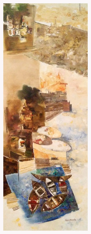Banaras 24-2016 by Anand Narain, Abstract Painting, Oil on Canvas, Cameo color