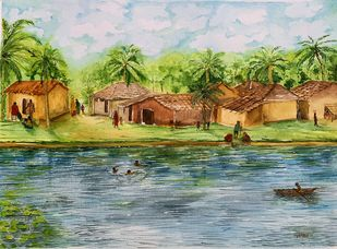 Simplicity of Life by Kajal Nalwa, Impressionism Painting, Watercolor on Paper, Powder Ash color