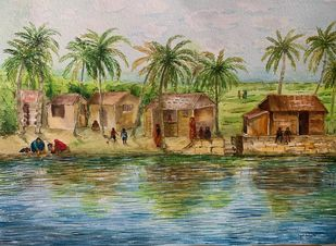 Simplicity of Life II by Kajal Nalwa, Impressionism Painting, Watercolor on Paper, Gurkha color