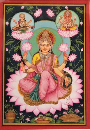 Maa Lakshmi by Unknown Artist, Folk Painting, Natural colours on paper, Dune color
