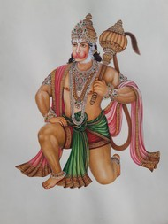 Mahaveer by Unknown Artist, Folk Painting, Watercolor on Paper, Cotton Seed color
