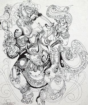 Ganesh by Asit Mondal, Illustration Drawing, Ink on Paper, Mine Shaft color