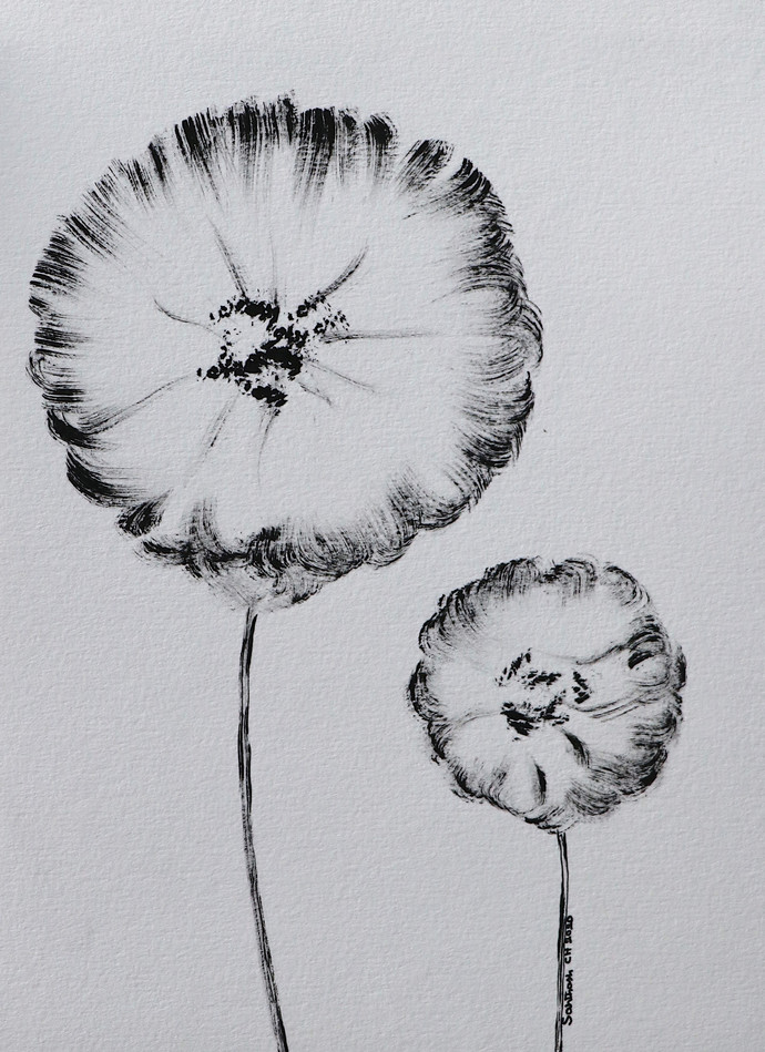 Flowers 56 Digital Print by Santhosh CH,Illustration