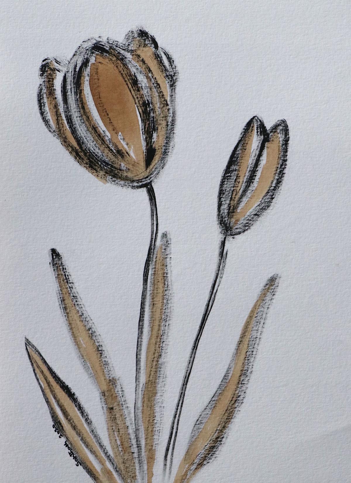 Flowers 68 Digital Print by Santhosh CH,Illustration