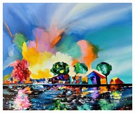 Exploded Sunrise by Richa Pamnani, Impressionism Painting, Acrylic on Canvas, Tumbleweed color