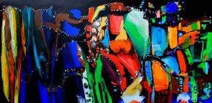 Star eruption by Richa Pamnani, Expressionism Painting, Acrylic on Canvas, Piper color