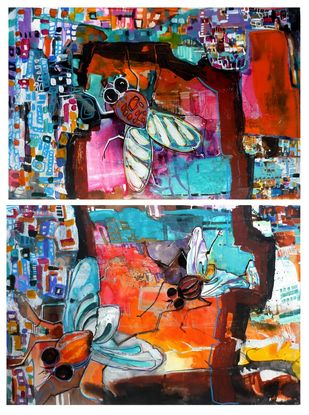 Untitled by Richa Pamnani, Expressionism Painting, Ink on Paper, Tonys Pink color