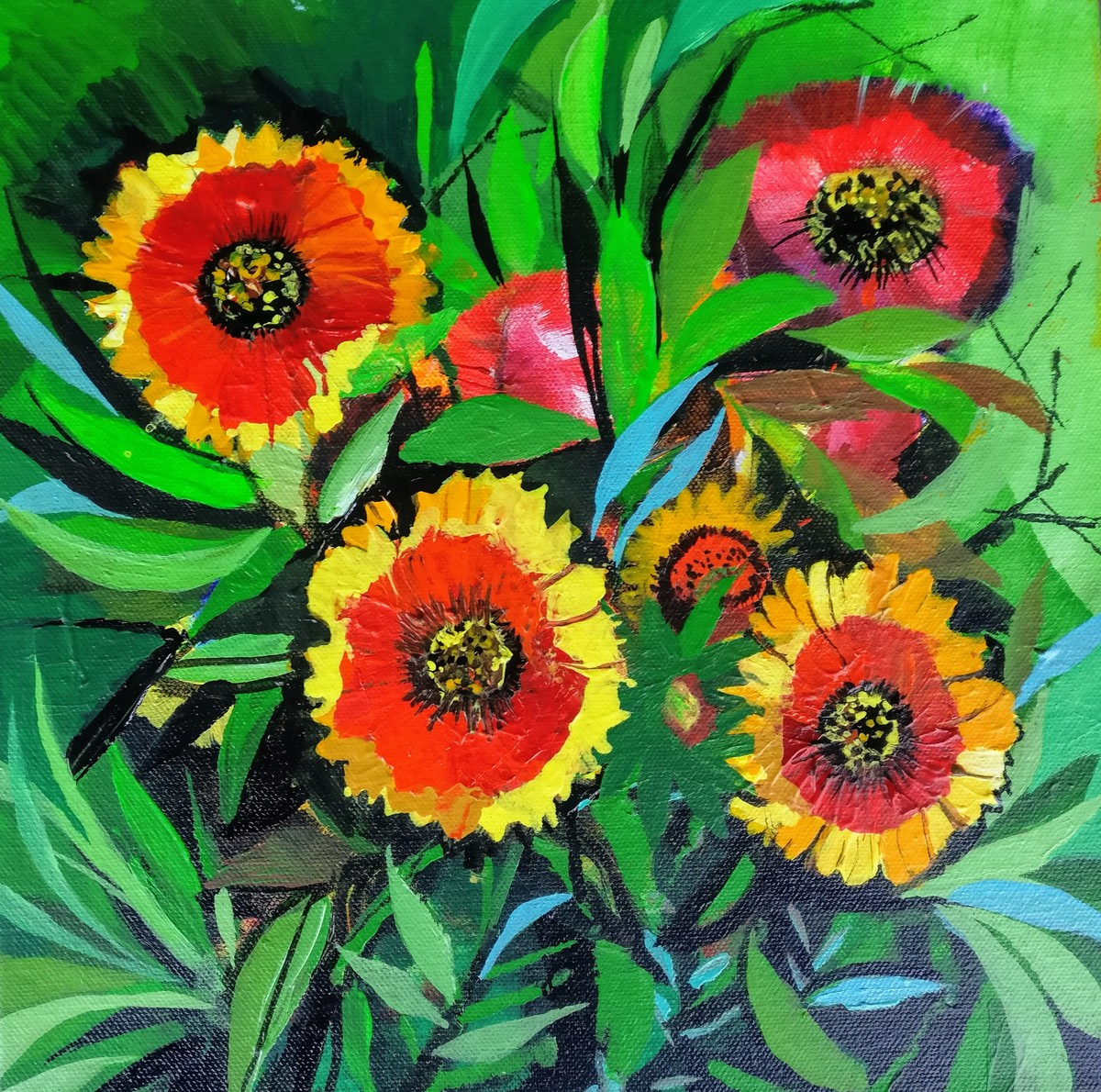 bloom series 1 by Richa Pamnani, Expressionism Painting, Acrylic on Canvas, Ochre color