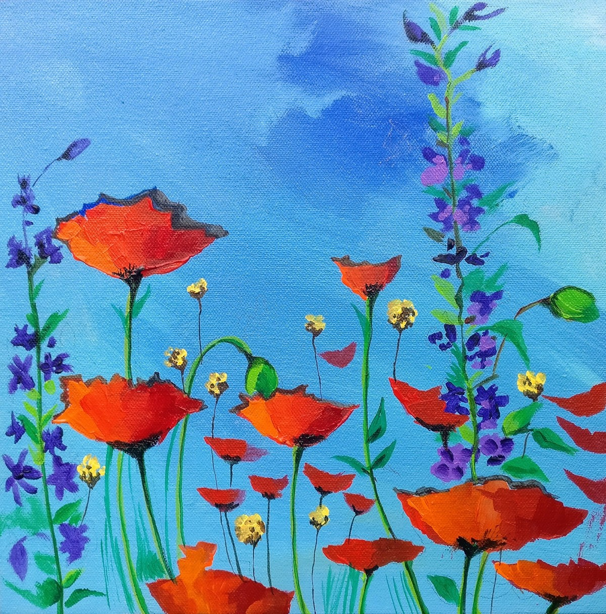 bloom series 2 by Richa Pamnani, Expressionism Painting, Acrylic on Canvas, Aqua Pearl color