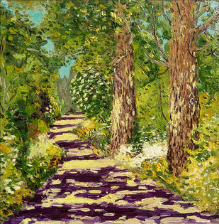 Sunlet Path with Two Poplars-III Digital Print by Animesh Roy,Expressionism