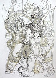 Untitled 4 by Asit Mondal, Illustration Drawing, Ink on Paper, Quill Gray color