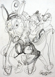 Untitled 5 by Asit Mondal, Illustration Drawing, Ink on Paper, Fuscous Gray color