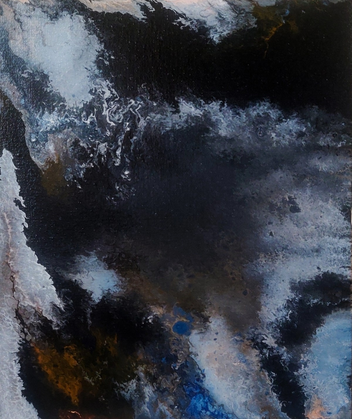 FLUID ART by MISSIMI RABHA, Abstract Painting, Acrylic on Canvas, Regent Gray color