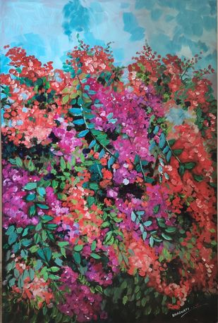 The Bougainville by Bhaswati Boruah , Abstract Painting, Acrylic on Canvas, Masala color