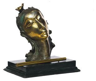 Krishna (1) by Sailen Ghosh, Art Deco Sculpture   3D, Bronze, Armadillo color