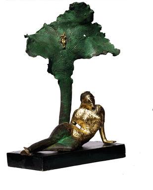 Radha by Sailen Ghosh, Art Deco Sculpture   3D, Bronze, Log Cabin color
